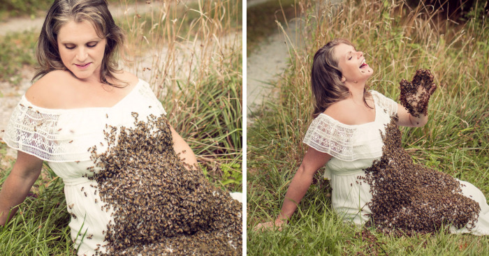 Woman Poses With 20,000 Live Bees For A Crazy Maternity Shoot